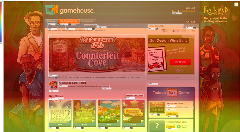 ClickTale GameHouse Heatmap